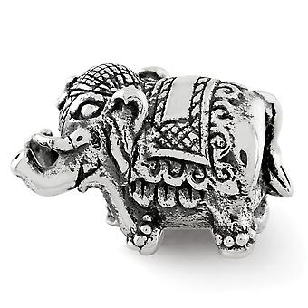 925 Sterling Silver Polished Antique finish Reflections Elephant Bead Charm