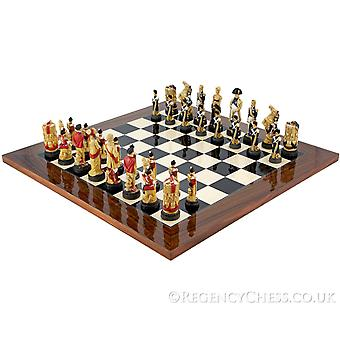 Battle of Waterloo Hand Painted Palisander Chess Set