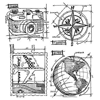 Tim Holtz Cling Rubber Stamp Set voyage Blueprint Cms 148