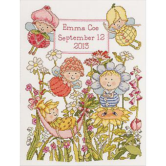 Garden Fairies Birth Record Counted Cross Stitch Kit 10