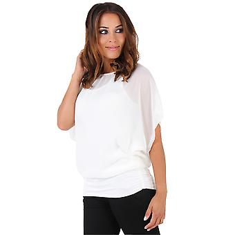 KRISP Womens Oversize Top in Chiffon increspato