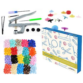 Buttonary - 549pcs Snap Button Fastener and Pliers Set for T3 T5 T8 with 540pcs Plastic Buttons Snap Poppers in 36 Colors + Awl Screwdriver Metal Rod Plastic Caps and Tweezers
