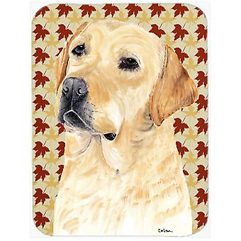 Labrador Yellow Fall Leaves Portrait Glass Cutting Board Large