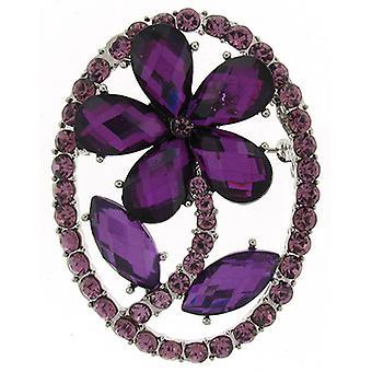Brooches Store Amethyst Purple Crystal Framed Daisy Flower Brooch