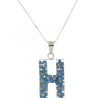Shrieking Violet Sterling Silver Forget Me Not Flowers H Initial Pendant