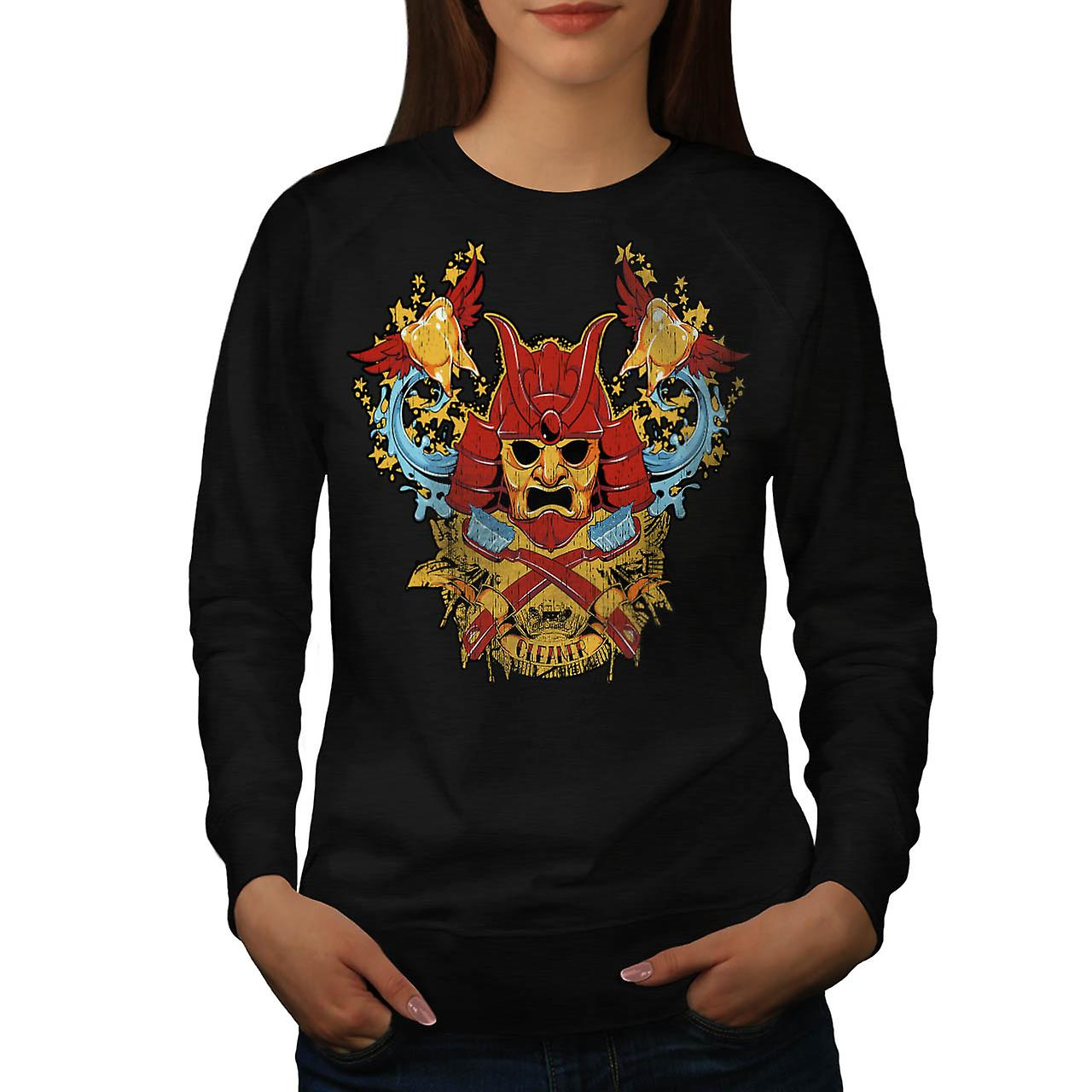 Teeth Cleaner Samurai Warrior Women Black Sweatshirt | Wellcoda