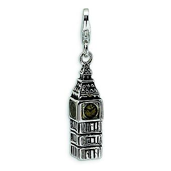 Sterling Silver 3-D Antiqued Big Ben With Lobster Clasp Charm - 4.3 Grams - Measures 33x8mm