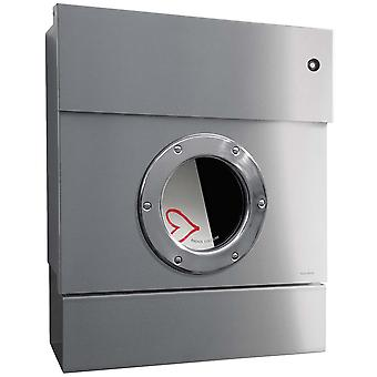 RADIUS letterbox Letterman 2 stainless steel with red LED ring and newspaper role 505 Y KR