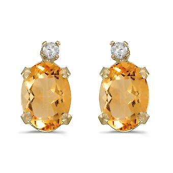 14k Yellow Gold Oval Citrine And Diamond Earrings