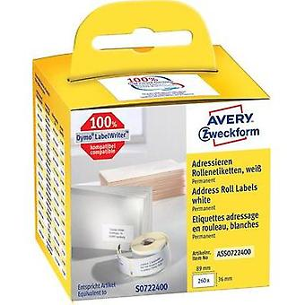 Avery-Zweckform Labels (roll) 89 x 36 mm Paper White 260 pc(s) Permanent ASS0722400 Address labels