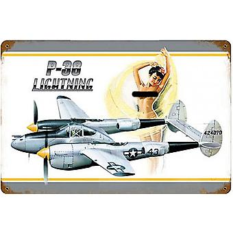 P-38 Lightning rusted steel sign   460mm x 300mm   (pst 1812)