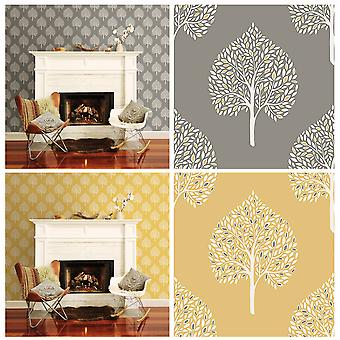 Leaves Wallpaper Leaf Trees Luxury Heavyweight Modern Annabelle Fine Decor