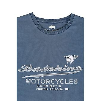 BadRhino Vintage Blue Motorcycle Slogan T-Shirt - TALL