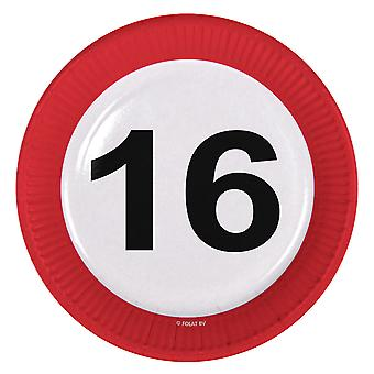 Party plate traffic sign number 16 birthday plates 8 PCs paper plates party