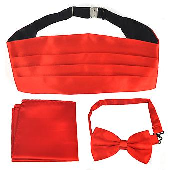 TRIXES Italian Satin Look Cummerbund and Bow Tie and Hanky Set Red