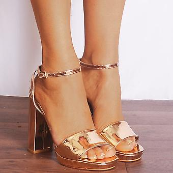 Shoe Closet Strappy Heels - Ladies Josefa14 Rose Gold Metallic Strappy Sandals High Heels