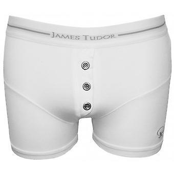 James Tudor Button Fly Boxer Trunk, White