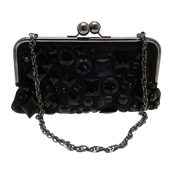 W.A.T Black Shine Facet Bead Clutch Bag Chain Strap