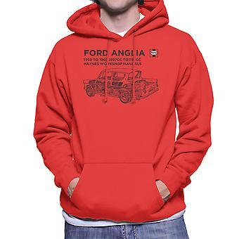Haynes Workshop Manual 0001 Ford Anglia Black Men's Hooded Sweatshirt