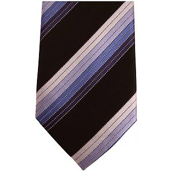 Knightsbridge Neckwear Diagonal Striped Silk Skinny Tie - Black/Blue