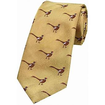 David Van Hagen Standing Male Pheasant Country Silk Tie - Gold
