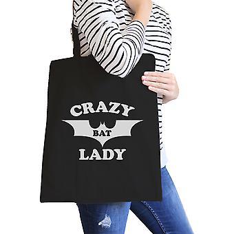 Bolso Señora de murciélago loco negro pesado algodón gráfico lona Tote playa