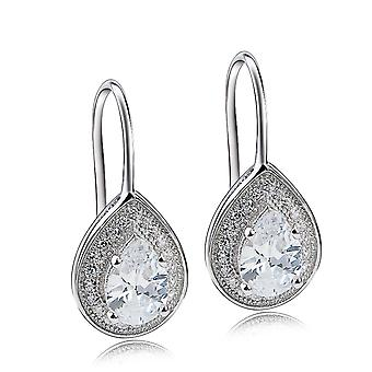 Affici zilveren Drop Earrings 18ct wit-goud verguld met Diamond Peardrop CZ edelstenen