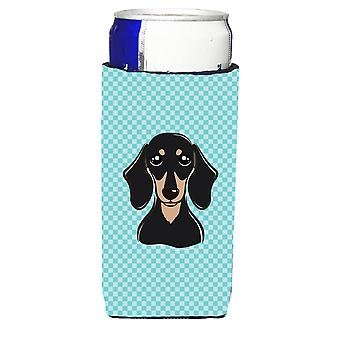 Checkerboard Blue Black and Tan Dachshund Ultra Beverage Insulators for slim can