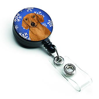Dachshund Winter Snowflakes Holiday Retractable Badge Reel
