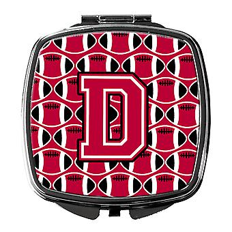 Letter D Football Crimson and White Compact Mirror