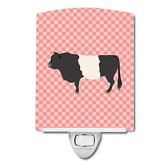 Belted Galloway Cow Pink Check Ceramic Night Light