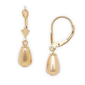14 k geel gouden Pear Drop Leverback Oorbellen - maatregelen 27x6mm