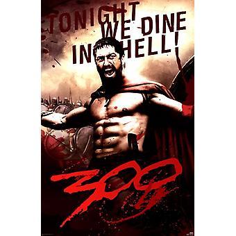300 - Leonidas Dine en infierno cartel Poster Print