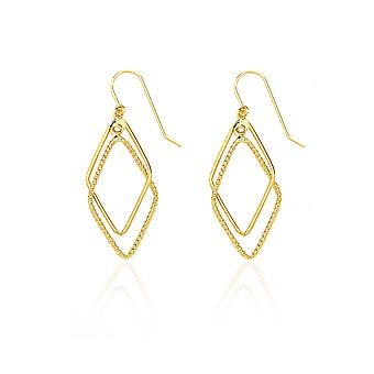 14 k gule gull designet pastill diamant formet slipp Dingle ørering i gaveeske