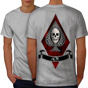 Diamond Ace dødningehoved Casino mænd grå T-shirt tilbage | Wellcoda