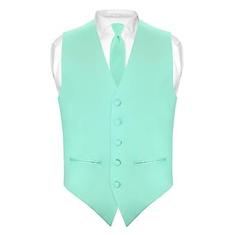 Mens SLIM FIT Dress Vest Skinny NeckTie 2.5