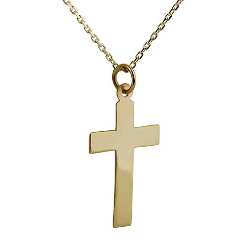 9ct Gold 24x14mm plain flat latin Cross with a cable Chain 16 inches Only Suitable for Children