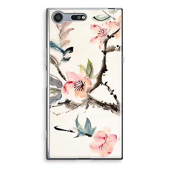 Sony Xperia XZ Premium Transparent Case (Soft) - Japenese flowers