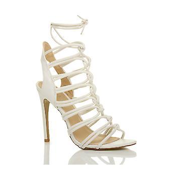 Ajvani kvinners høy hæl strappy snøre kutte ut ghillie bur sandaler sko