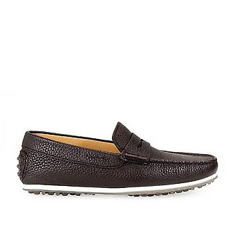 Triver flight 98025T brown leather mens moccasins
