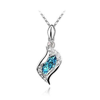 Womens Sky Blue Stone Leaf Fold Pendant Necklace