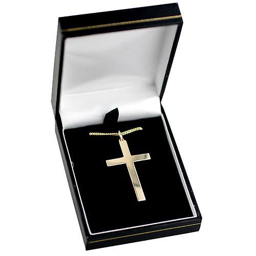 9ct Gold 40x25mm schlicht solider Block Kreuz mit einem Bordstein Kette 16 Zoll nur geeignet für Jugendliche