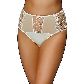 Nessa P1 Women's Mamma Ecru and Pink Embroidered Knickers Panty Full Brief