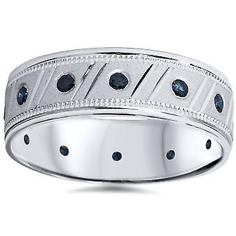 Mens 1/3ct Blue Diamond Brushed Wedding Band 14K White Gold
