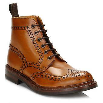 Loake Mens Tan Bedale Leather Brogue Boots