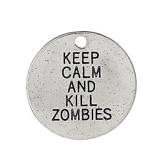 3 x Antique Silver Tibetan 20mm Keep Calm Kill Zombies Charm/Pendant ZX10680