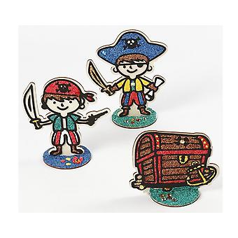 Wooden Pirate Captain Figure for Kids to Decorate - 19cm