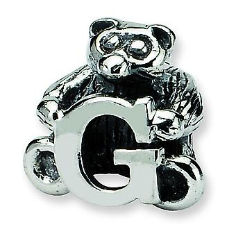 Sterling Silver Antique finish Reflections Kids Letter G Bead Charm