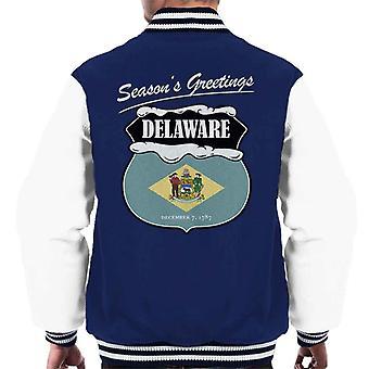 Seasons Greetings Delaware State Flag Weihnachten Männer Varsity Jacket