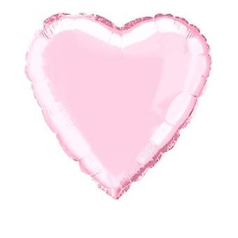 Folie ballong hjertet Solid metallisk pastell rosa